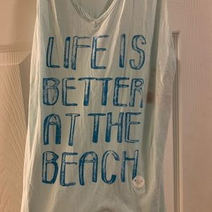 Roxy Tops - Roxy Life Is Better At The Beach Tank Top Large